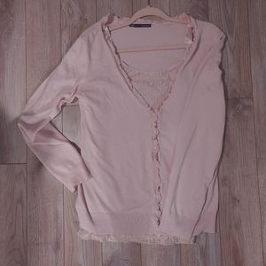 Pink sweater twinset